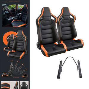 Universal Pair Car Racing Seats Leather Durable Recline Seats W 2 Sliders Black