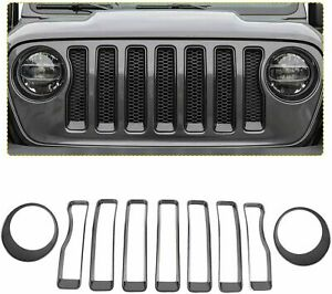 Front Grille Face Inserts Headlight Cover Trim For Jeep Wrangler Jl Carbon Fiber