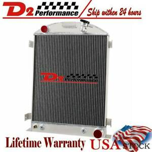4 Row Core Aluminum Radiator For 1933 1934 Ford Grill Shells Chevy V8 Engine Us