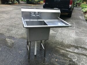 Allstrong Heavy Gauge Single Compartment Commercial Sink With Side Drainboard