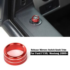 Red Release Mirrors Switch Knob Ring Trim Cover Decor For Ford F150 Mustang 09