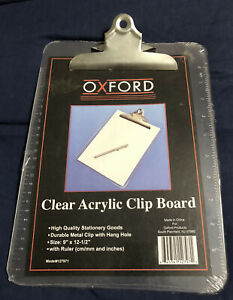 Vintage Oxford Clear Acrylic Clip Board In Sealed Pkg 9 X 12 1 2