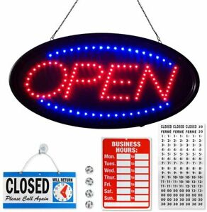 Flashing Neon Open Sign For Business 19x10 Inches Blue Red