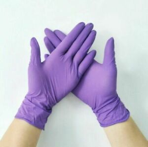 Purple Nitrile Box Of 100 Gloves Exam Powder Free 9 5 Lngth Puncture Resistant