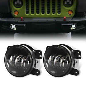 Pair 4inch 60w Cree Led Fog Lights Driving Lamp For Jeep Wrangler Jk Tj Lj Dodge