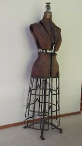 Antique 1912 Vintage Mannequin Dress Form With Cast Iron Base On Wooden Wheels