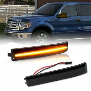 Led Side Mirror Smoked Lens Turn Signal Light Lamp For Ford 2009 2014 F150 F 150