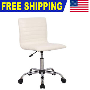 Pu Leather Low Back Armless Desk Chair Adjustable Swivel Task Chair Office White