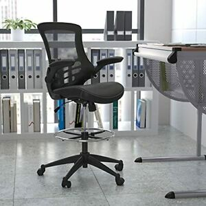 Flash Furniture Mid back Black Mesh Ergonomic Drafting Chair With Leathersoft S