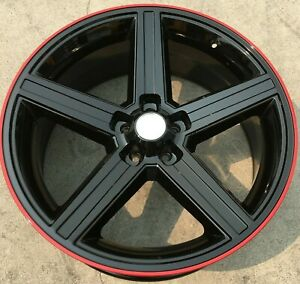 4 20 Iroc Wheels Black Red 20x8 5 5x115 10 Charger Challenger Chrysler