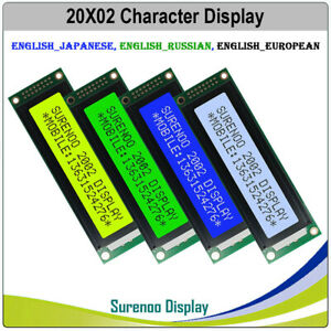 116x37 2002 202 Character Lcd Module Display Screen Panel Lcm Ru Eu Jp En Fonts