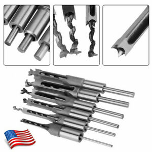 Woodworker Square Hole Drill Bits Saw Wood Mortising Chisel Set 1 4 5 16 3 8 1 2