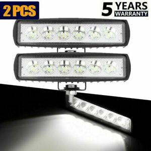 2x 6 48w 4800lm Led Work Light Spot Beam Bar Car Suv Offroad Driving Fog Lamp