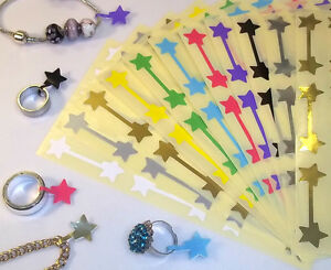 100 Star Shaped Jewellery Price Stickers 16 X 54mm Tags Labels Dumbells