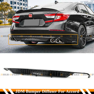 For 18 2020 Honda Accord Sport Yf Style Glossy Blk Rear Bumper Diffuser Valance