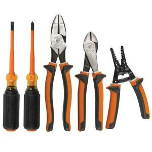 Klein Tools Electrical Tool Set Insulated Pliers Screwdriver Cushion Grip 5 Pc