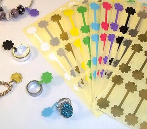 100 Flower Shaped Jewellery Price Stickers 16 X 54mm Tags Labels Dumbells