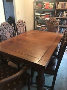 Hand Carved Antique Dining Set7 Pc