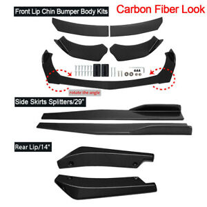 Universal Carbon Fiber Look Front Bumper Spoiler Body Kit Side Skirt Rear Lip