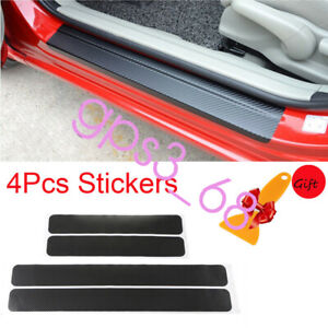 4x Car Black Carbon Fiber Scuff Plate Door Sill Cover Panel Step Protector Guard