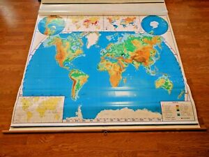 Vintage 4 Layer Nystrom United States World Map Pull Down School Map