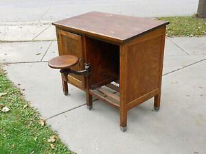 Antique Industrial Oak Drafting Table Factory Work Desk W Swing Out Stool 1900 S
