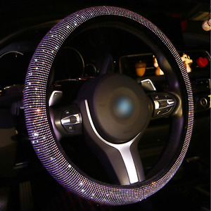 Bling Steering Wheel Cover For Women Girls Crystal Diamond Leather Car 15 Inch