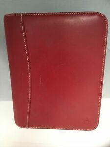 Franklin Covey Red Full Grain Leather Organizer Zipper Binder Planner 8 5 X 7
