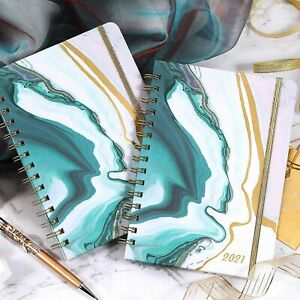 2021 Elegant Weekly Monthly Planner W tabs 6 5x 8 5 New Stylish Sea Blue Cover