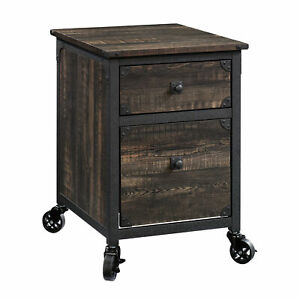 2 drawer Rustic Filing Cabinet Side End Table Accent Home Office Furniture Wood