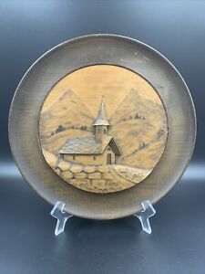 Vintage European Primitive Carved Wooden Wall Plate Chapel In The Mountains