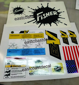 Fisher Ez v Snow Plow Decals 10 Pc Sticker Kit Safety Instructions Ready N Stick