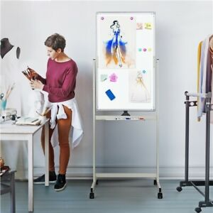 Large Mobile Whiteboard 40x24 Double Sided Dry Erase Board With Stand Magnetic