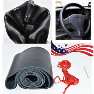 Diy Car Truck Leather Steering Wheel Cover With Needles And Thread Black red Us