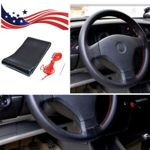 Black red 38cm Leather Diy Car Auto Steering Wheel Cover With Needles And Thread