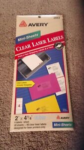 Avery 2663 Clear Laser Labels Mini Sheets 2 x 4 1 4 80 Labels