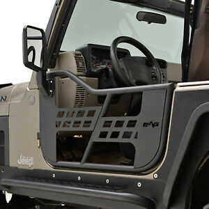 Eag Safari Steel Tube Door With Side Mirror Pair Fit For 97 06 Jeep Tj Wrangler