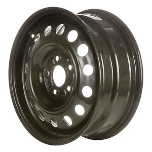 New 16x6 5 Steel Wheel 15 Round Vent For Tpms Black Full Face Painted