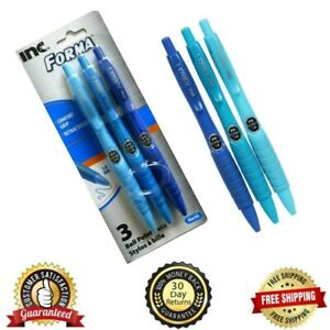 Ball Point Pens Inc Forma Comfort Grip Retractable Blue Pack Of 3