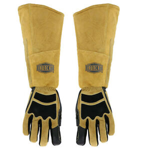 Ironcat Stick Welding Gloves Cowhide Leather Right Left Hand Heat Resistant