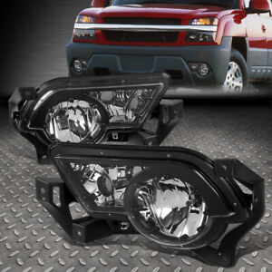 For 02 06 Chevy Avalanche 1500 2500 Chrome Clear Bumper Fog Lights W Cladding
