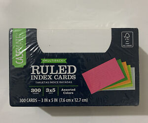 Case Ruled Index Cards 3x5 Assorted Colors 300 Cards