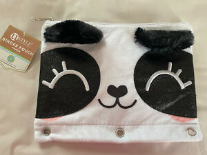 Animal Themed Fuzzy Glittery Pencil Cases For School Or Work For 3 Ring Binder
