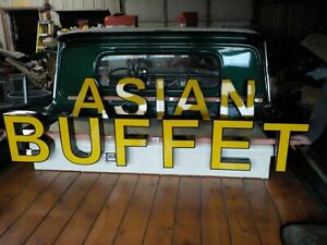 Lighted 10 Foot Long Outdoor Or Indoor Asian Buffet Business Sign Advertising
