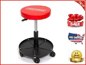 Adjustable Height Rolling Creeper Stool With Storage Tray Rip resistant Padded