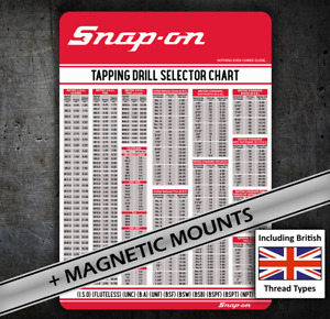 Snap on British Threads Tap Chart 081 Card Bsw Bsf Etc For Tool Chest