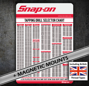 Snap on British Threads Tap Chart 080 Card Bsw Bsf Etc For Tool Chest