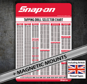 Snap on British Threads Tap Chart 079 Card Bsw Bsf Etc For Tool Chest