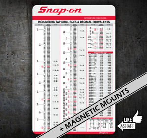 Snap on Tap Chart 050 Card Drills With Decimal Equiv Tool Box Chest Cart