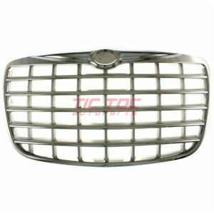 New Grille Chrome Shell Primed Silver Insert Fits Chrysler 300 2005 10 Ch1200276